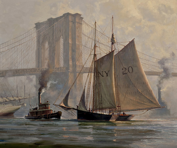 Don Demers - Working Through a Fog, East River, NYC -  LIMITED EDITION CANVAS Published by the Greenwich Workshop