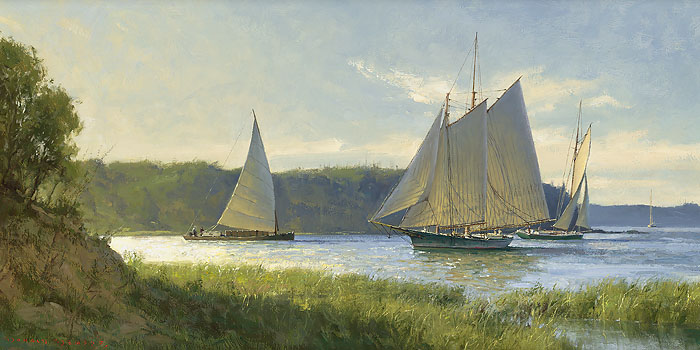 Don Demers - Working the River -  LIMITED EDITION CANVAS Published by the Greenwich Workshop