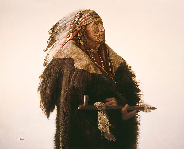 Crow Indian with Peace Pipe<br> LIMITED EDITION CANVAS