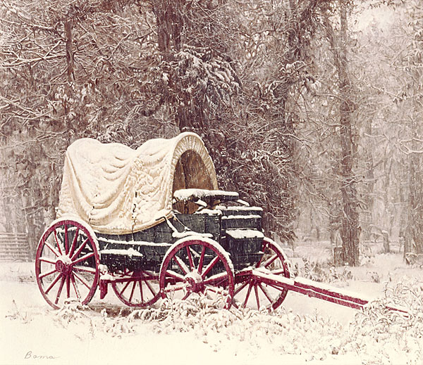 James Bama - Chuck Wagon in the Snow -  ANNIVERSARY EDITION CANVAS Published by the Greenwich Workshop