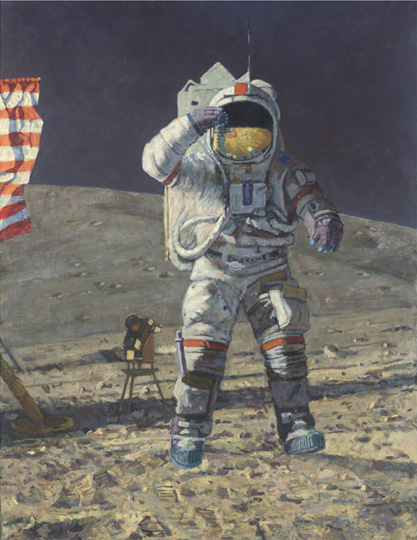 Alan Bean - John Young Leaps into History -  LIMITED EDITION CANVAS Published by the Greenwich Workshop