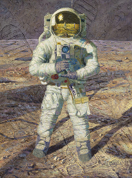 Alan Bean - First Men: Neil A. Armstrong -  MASTERWORK TEXTURED CANVAS Published by the Greenwich Workshop