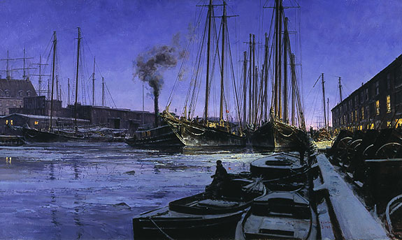 Christopher Blossom - WINTER DAWN AT BOSTON T WHARF -  LIMITED EDITION PRINT Published by the Greenwich Workshop