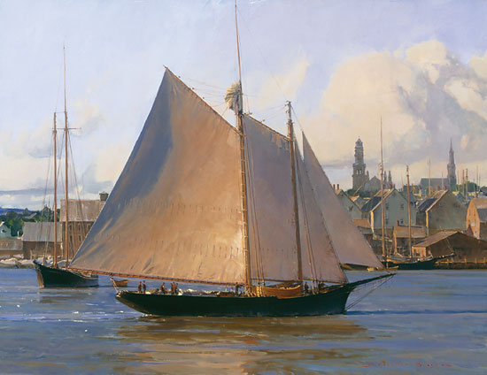 Christopher Blossom - Afternoon Arrival, Gloucester -  LIMITED EDITION CANVAS Published by the Greenwich Workshop