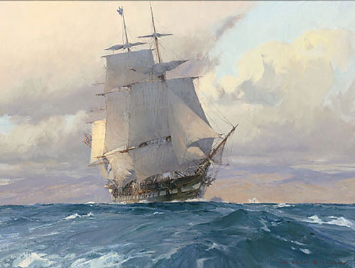 Christopher Blossom - U.S. Frigate Congress on the California Coast -  LIMITED EDITION CANVAS Published by the Greenwich Workshop