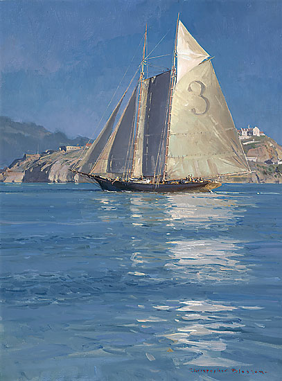Christopher Blossom - Pilot Schooner Gracie S., Becalmed off Alcatraz -  LIMITED EDITION CANVAS Published by the Greenwich Workshop