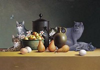 STILL LIFE WITH THREE EGGS AND FOUR PAIRS