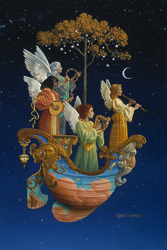 James C. Christensen - EVENING ANGELS FRAMED -  LIMITED EDITION PRINT Published by the Greenwich Workshop