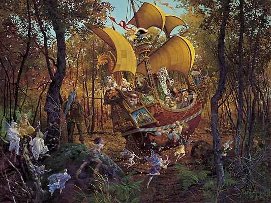 James C. Christensen - FLIGHT OF THE FABLEMAKER (REMARQUE) -  L.E. PRINT Published by the Greenwich Workshop