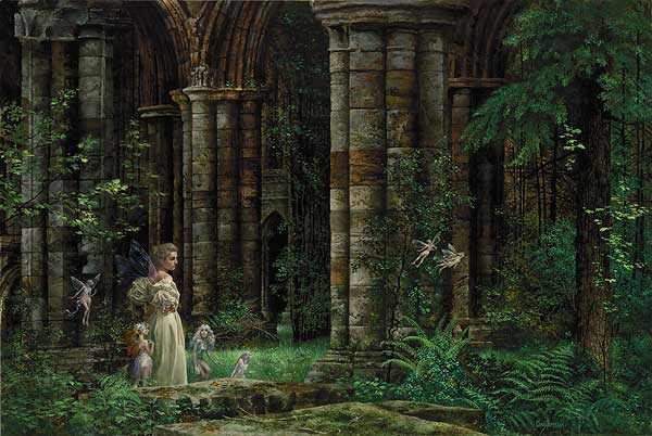 James C. Christensen - QUEEN MAB IN THE RUINS W/FIGURINES -  LEP COLLECTOR´S EDITION Published by the Greenwich Workshop