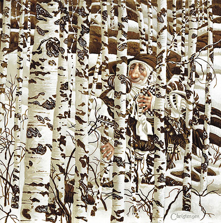 James C. Christensen - A CHRISTENSEN CHARACTER CLEVERLY CAMOUFLAGED IN A -  L.E.PRINT Published by the Greenwich Workshop