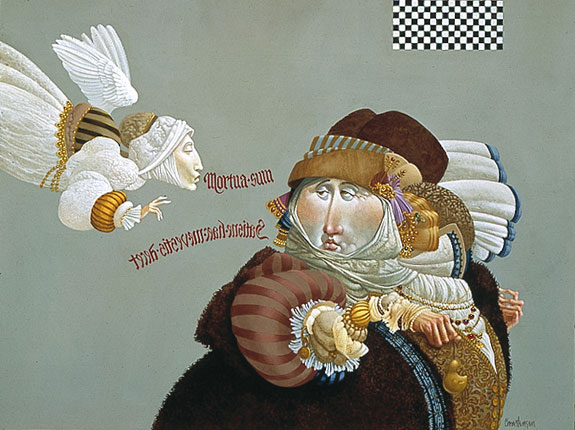 James C. Christensen - VISITATION/PREOCCUPATION -  LIMITED EDITION CANVAS Published by the Greenwich Workshop