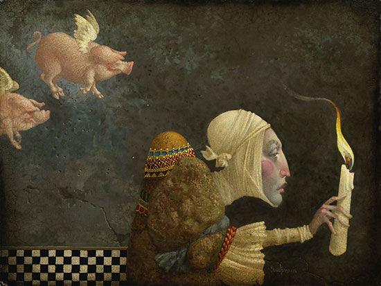 James C. Christensen - If Pigs Could Fly -  LIMITED EDITION CANVAS Published by the Greenwich Workshop