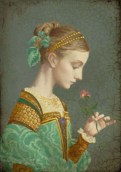 James C. Christensen - First Rose -  SMALLWORK CANVAS EDITION Published by the Greenwich Workshop