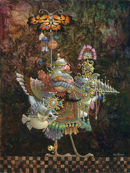 James C. Christensen - Butterfly Knight -  SMALLWORK CANVAS EDITION Published by the Greenwich Workshop