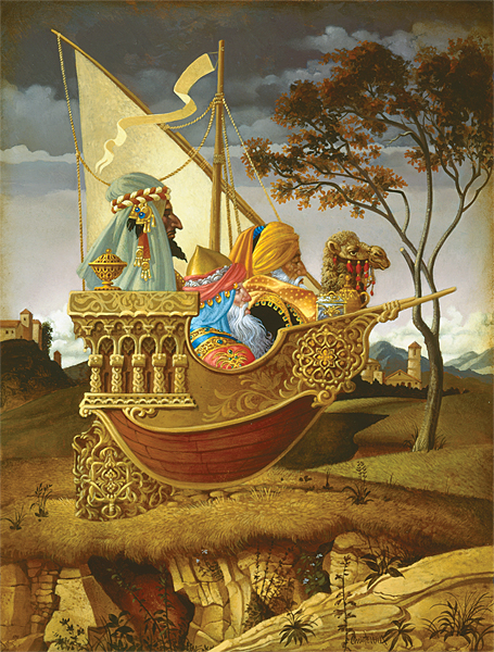 James C. Christensen - Three Wise Men in a Boat -  LIMITED EDITION CANVAS Published by the Greenwich Workshop