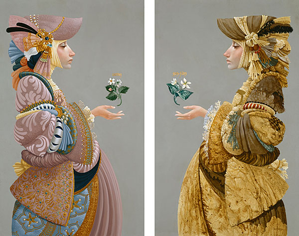 James C. Christensen - Two Sisters -  ANNIVERSARY DIPTYCH CANVAS Published by the Greenwich Workshop