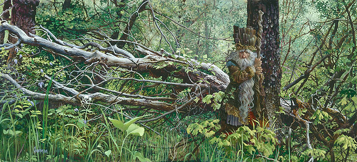 James C. Christensen - Guardian in the Woods -  LIMITED EDITION CANVAS Published by the Greenwich Workshop