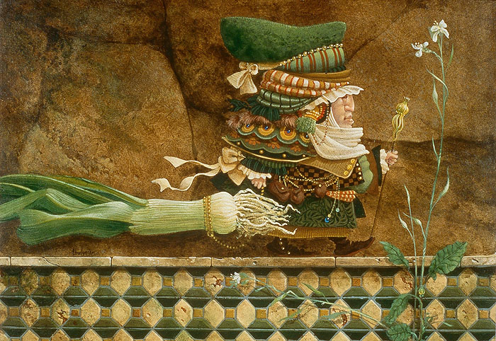 James C. Christensen - Man Taking a Leek on a Tiled Wall for a Walk -  SMALLWORK CANVAS EDITION Published by the Greenwich Workshop