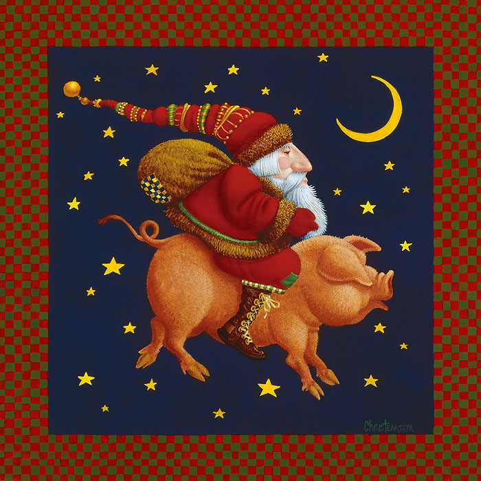 James C. Christensen - The Christmas Pig -  SMALLWORK CANVAS EDITION Published by the Greenwich Workshop