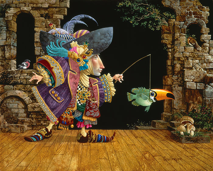 James C. Christensen - Fish in A Toucan Mask -  LIMITED EDITION CANVAS Published by the Greenwich Workshop