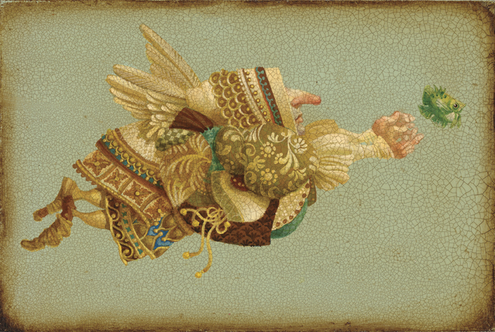 James C. Christensen - Fish Chaser -  SMALLWORK CANVAS EDITION Published by the Greenwich Workshop