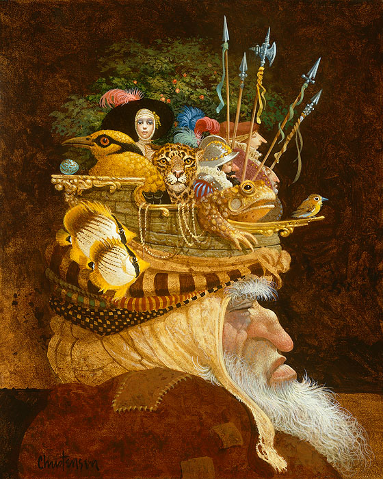 James C. Christensen - Old Man With A Lot on His Mind -  ANNIVERSARY CANVAS EDITION Published by the Greenwich Workshop