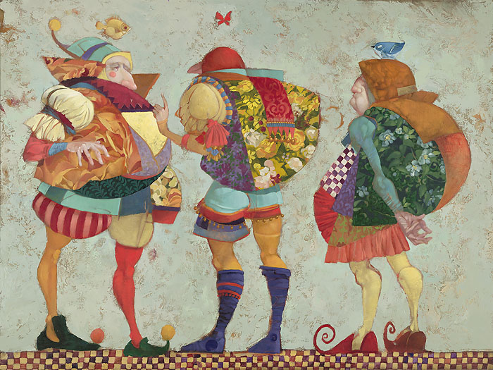 James C. Christensen - Three Clowns -  LIMITED EDITION CANVAS Published by the Greenwich Workshop