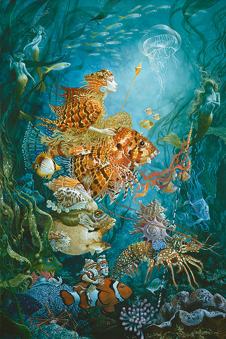 James C. Christensen - Fantasies of the Sea -  ANNIVERSARY EDITION CANVAS Published by the Greenwich Workshop