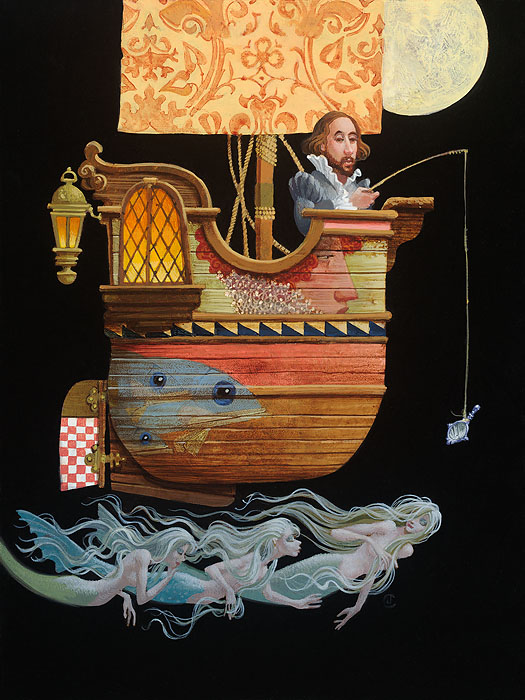James C. Christensen - Fishing for Mermaids -  LIMITED EDITION CANVAS Published by the Greenwich Workshop