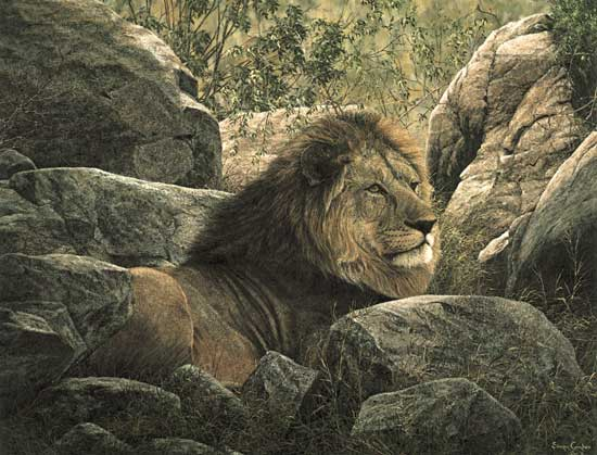 Simon Combes - SERENGETI MONARCH -  LIMITED EDITION PRINT Published by the Greenwich Workshop