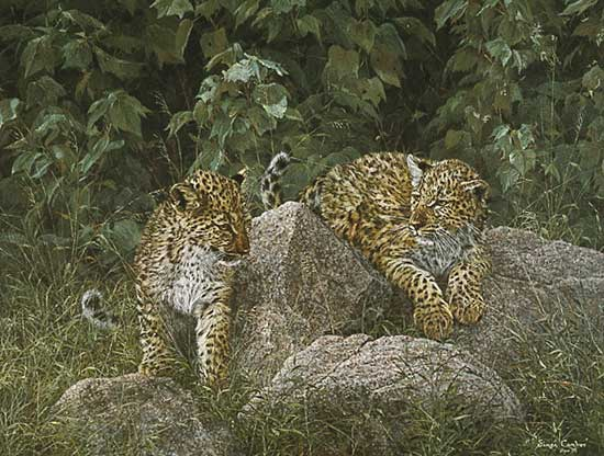 Simon Combes - LEOPARD CUBS -  LIMITED EDITION PRINT Published by the Greenwich Workshop