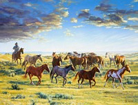 The Horse Wrangler gather'd the morn&lt;br&gt; LIMITED EDITION CANVAS