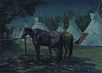 Relay Horses in camp, Crow fair 2000: &amp;quot;August celebrations maintain the culture, in this age of