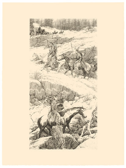 Bev Doolittle - Shoshone Switchback -  ORIGINAL STONE LITHOGRAPH Published by the Greenwich Workshop