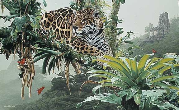 Rod Frederick - TEMPLE OF THE JAGUAR -  LIMITED EDITION PRINT Published by the Greenwich Workshop