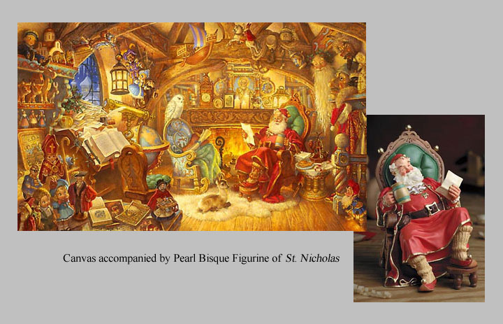 Scott Gustafson - ST. NICHOLAS IN HIS STUDY W/FIGURINES -  LIMITED EDITION CANVAS Published by the Greenwich Workshop