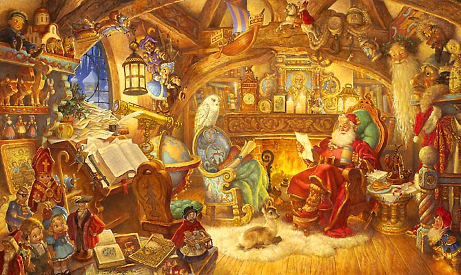 Scott Gustafson - ST. NICHOLAS IN HIS STUDY -  LIMITED EDITION PRINT Published by the Greenwich Workshop
