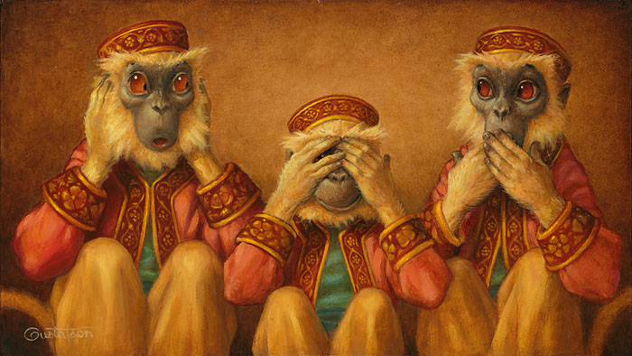 Scott Gustafson - Hear No Evil, See No Evil, Speak No Evil -  LIMITED EDITION CANVAS Published by the Greenwich Workshop