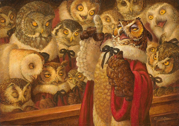 Scott Gustafson - A Parliament of Owls -  SMALLWORK CANVAS EDITION Published by the Greenwich Workshop