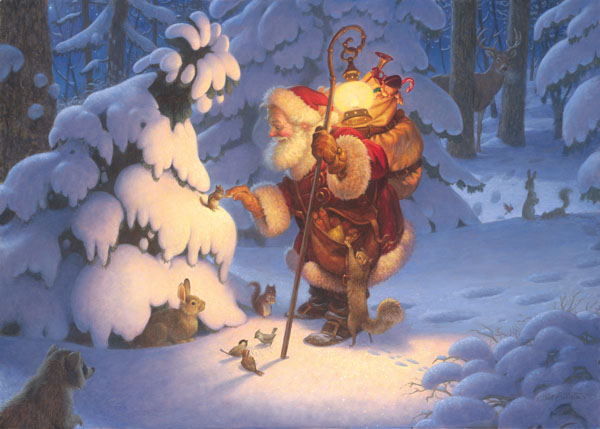 Scott Gustafson - Woodland Santa -  LIMITED EDITION CANVAS Published by the Greenwich Workshop