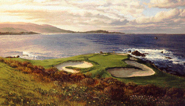 Linda Hartough - THE 7TH HOLE PEBBLE BEACH GOLF LINKS -  L.E.PRINT Published by the Greenwich Workshop