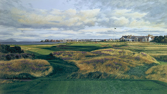 Linda Hartough - 17TH HOLE CLUBHOUSE ROYAL TROON -  LIMITED EDITION PRINT Published by the Greenwich Workshop