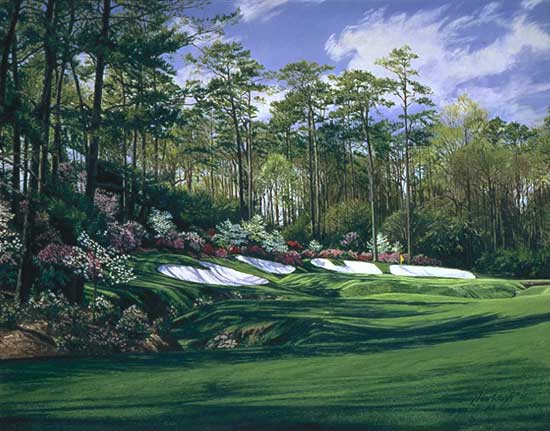 "Linda Hartough - 13TH HOLE AUGUSTA NATIONAL, ""AZALEA"", -  LIMITED EDITION PRINT Published by the Greenwich Workshop"