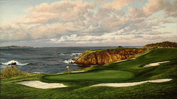 Linda Hartough - THE 8TH HOLE PEBBLE BEACH GOLF LINKS -  LIMITED EDITION CANVAS Published by the Greenwich Workshop
