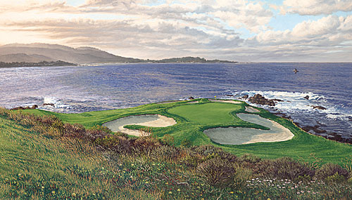 Linda Hartough - THE 7TH HOLE PEBBLE BEACH -  LIMITED EDITION CANVAS Published by the Greenwich Workshop