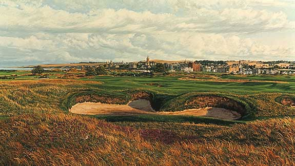 Linda Hartough - THE 14TH HOLE THE OLD COURSE ST. AND -  LIMITED EDITION CANVAS Published by the Greenwich Workshop