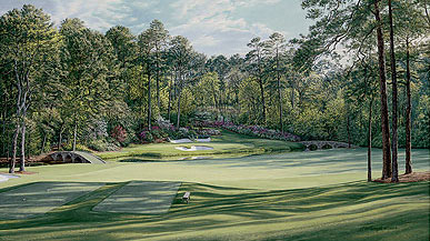 "Linda Hartough - THE 12TH HOLE ""GOLDEN BELL"" AUGUSTA NATIO -  MW CANVAS EDITION Published by the Greenwich Workshop"