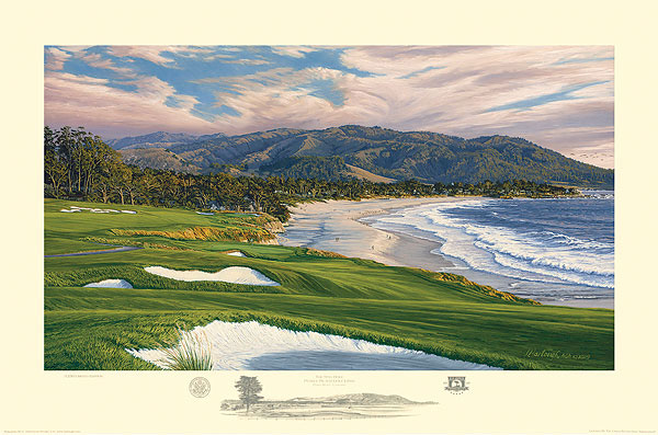 Linda Hartough - 2010 U.S. Open Championship, The 9th Hole, Pebble Beach Golf Links -  LIMITED EDITION PRINT Published by the Greenwich Workshop