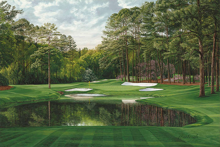 Linda Hartough - The 16th Hole Redbud Augusta National Golf Course -  MASTERWORK CANVAS EDITION Published by the Greenwich Workshop